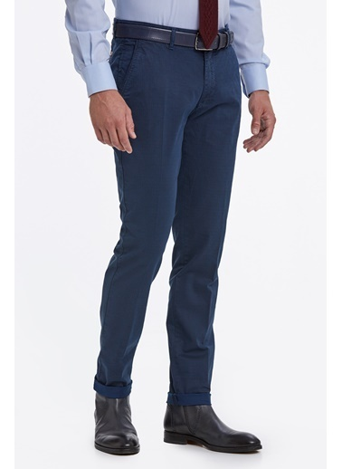 Hemington Desenli Mavi Pamuk Chino Pantolon Mavi